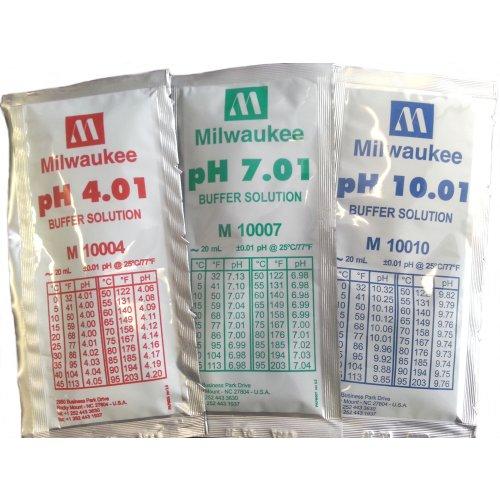 pH Calibration Solution Combo: 1 x PH 4.01 buffer solution, 1x20ml sachet 1 x PH 7.01 buffer solution, 1x20ml sachet 1 x PH 10.01 buffer solution, 1x20ml sachet