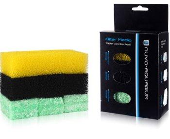 Nuvo Aquarium 3 Stage Media Sponges - Triple Combo Pack for Nuvo Pico / Nano