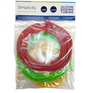 Simplicity Heavy-Duty Silicone Dosing Pump Tubing - Green/Red/Yellow Combo Pack -10 ft. of Each Color