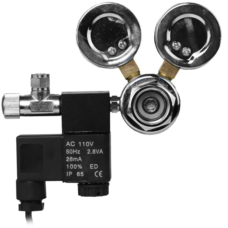 Professional Dual Gauge CO2 Regulator with Solenoid Valve and Bubble Counter - FMR-201 by AquaCave]