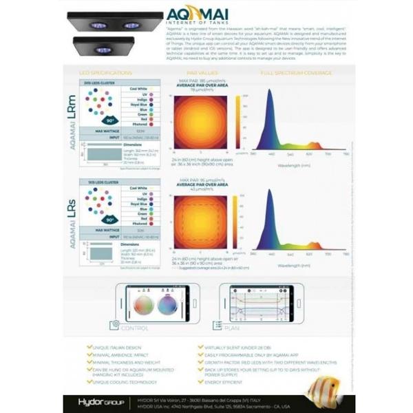Hydor AQAMAI LRs-LED Reef Light 50 Watt w/ Wifi - White/Platinum by Hydor]